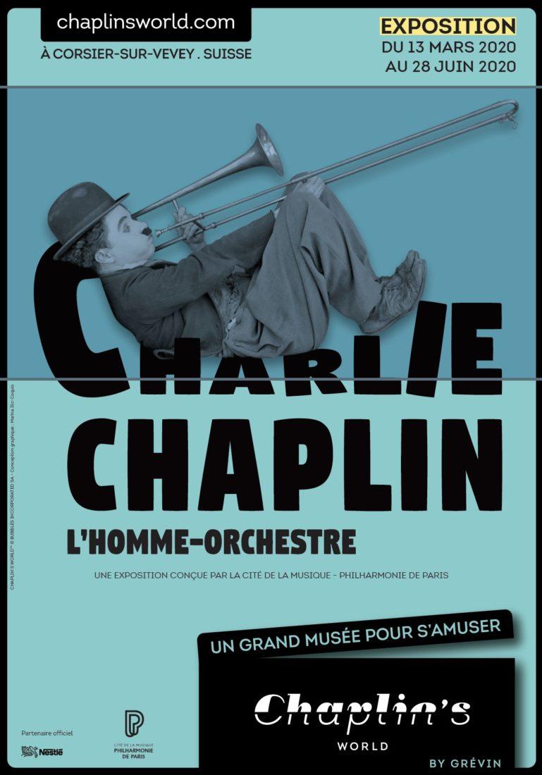 Affiche exposition Chaplin l'Homme orchestre- 2020