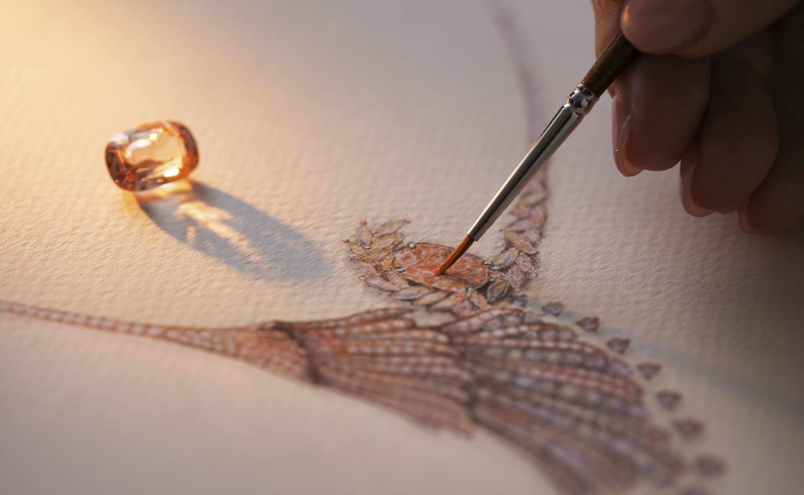 dessin du collier «Blushing Wing» de Gübelin Jewellery