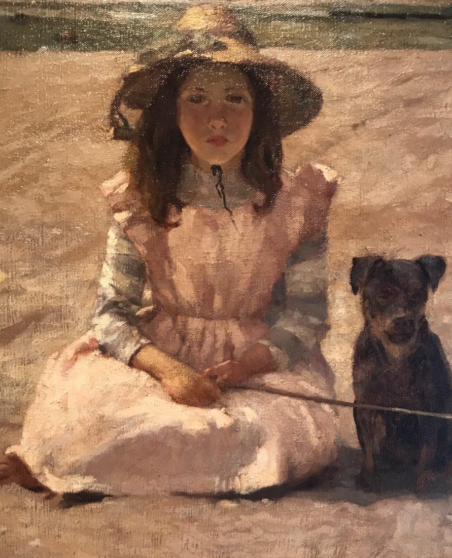 William Brymner – Fillette avec son chien, Bas Saint Laurent
