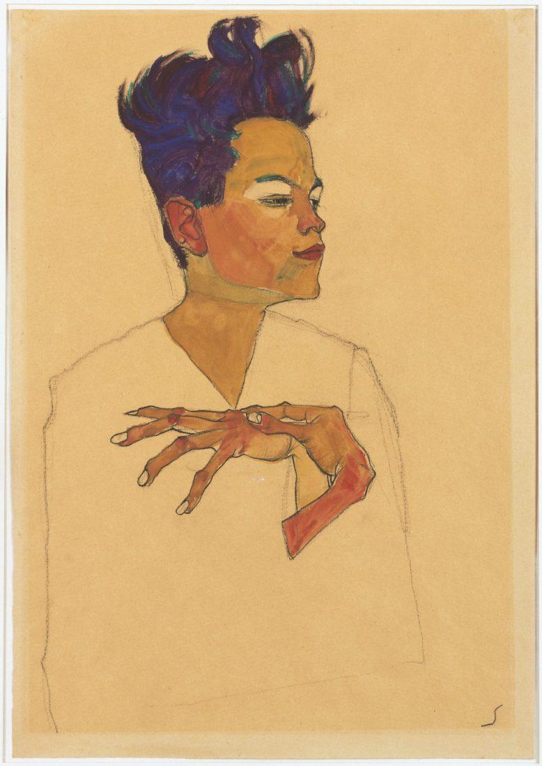Egon Schiele (1890-1918). Autoportrait, les mains sur la poitrine,