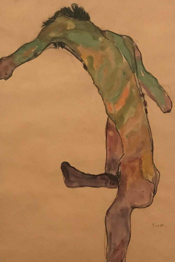 Egon Schiele (1890-1918). Nu à la jambe levée, vu de dos