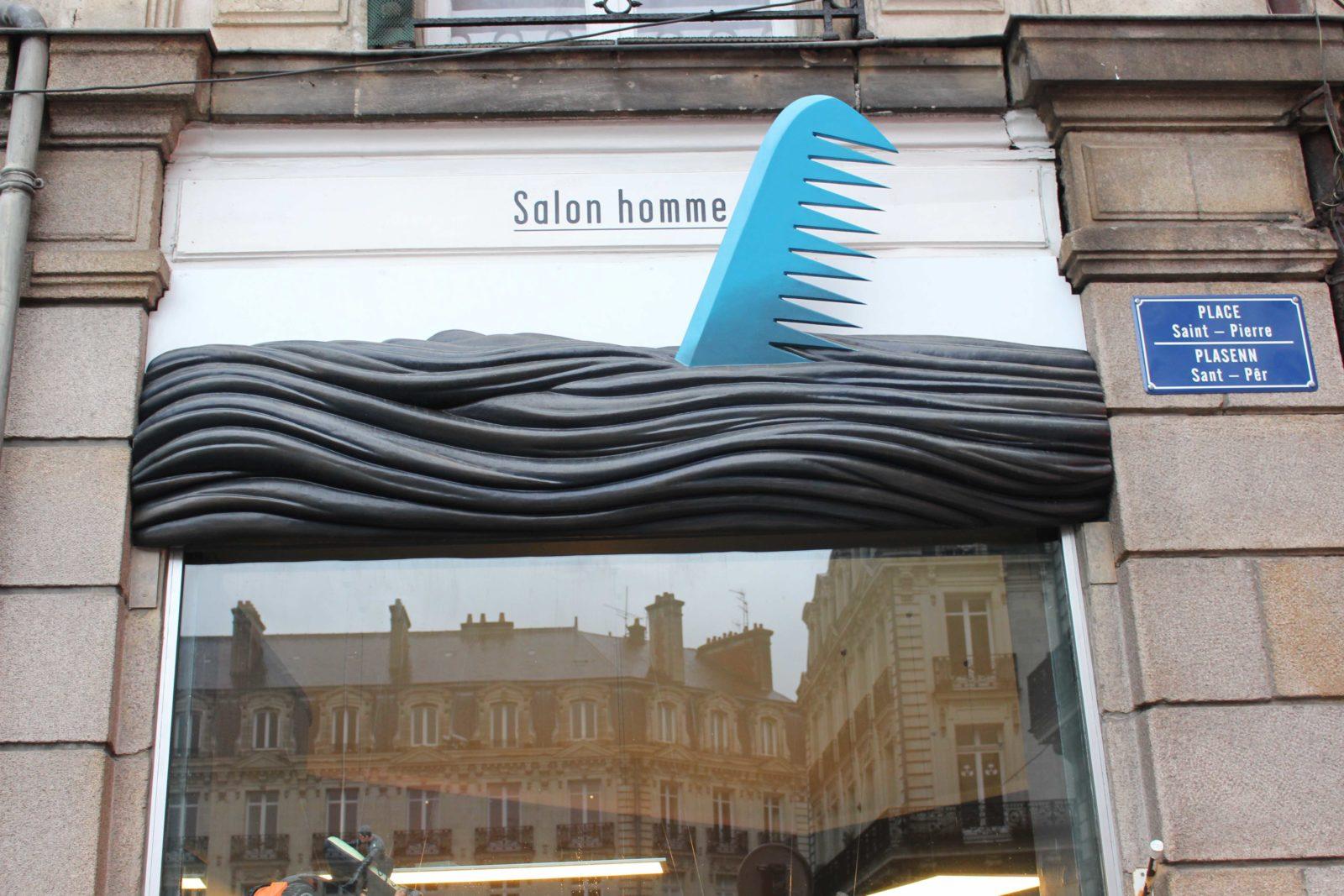 Nantes enseigne salon coiffure hommes