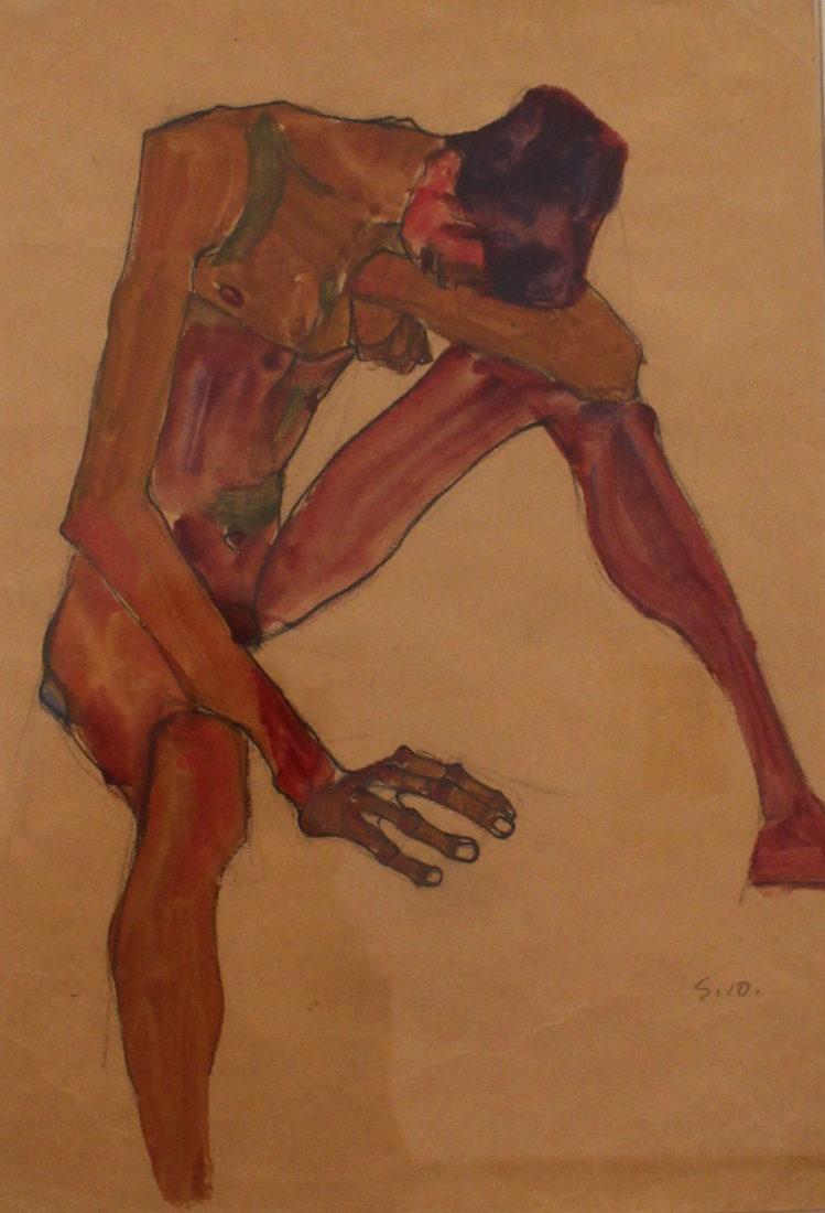 Egon Schiele (1890-1918). Nu masculin assis,