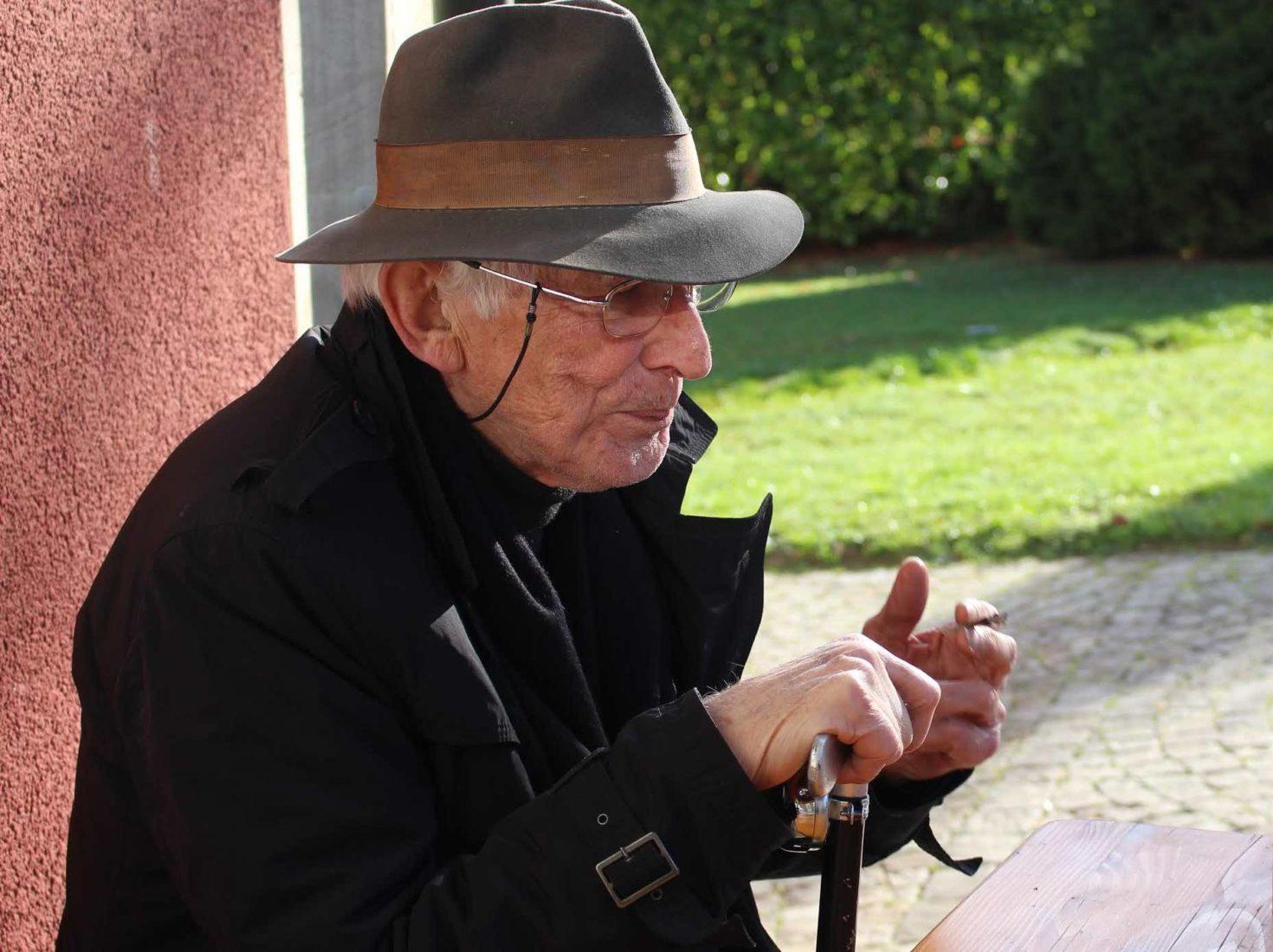 Tomi Ungerer lors d'une exposition à GenèveVilla Bernasconi 1985