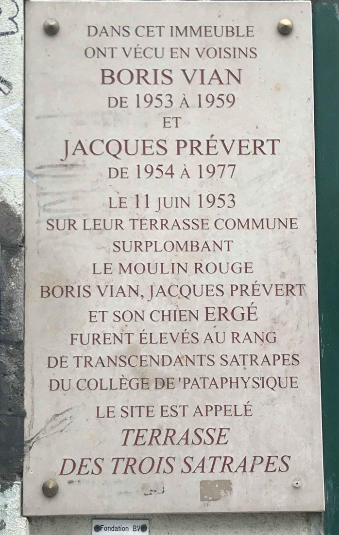 Plaque Boris Vian Cité Véron Paris