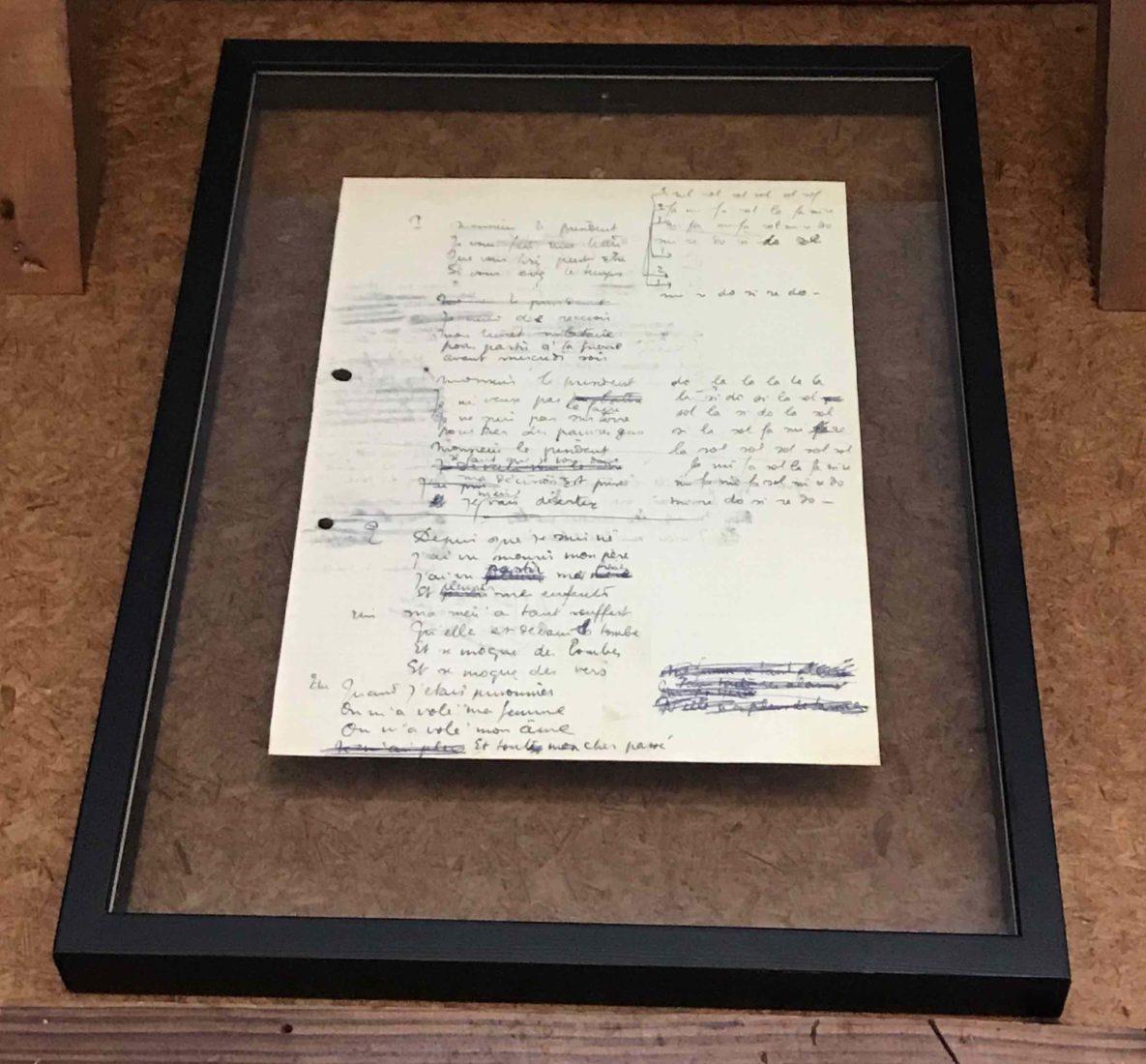 Cité Véron Paris Réplique du manuscrit du Déserteur de Boris Vian