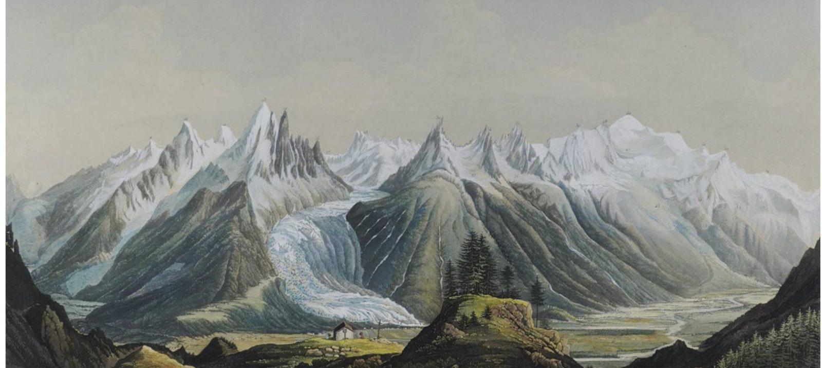 Les Alpes dessin en ligne ligne Chamonix et Turin