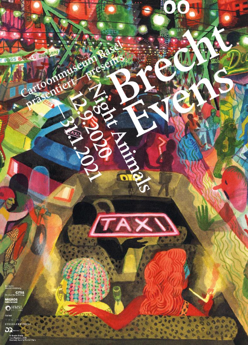 """Brecht Evens, affiche """"Les Rigoles"""", exposition Bâle 2020"""