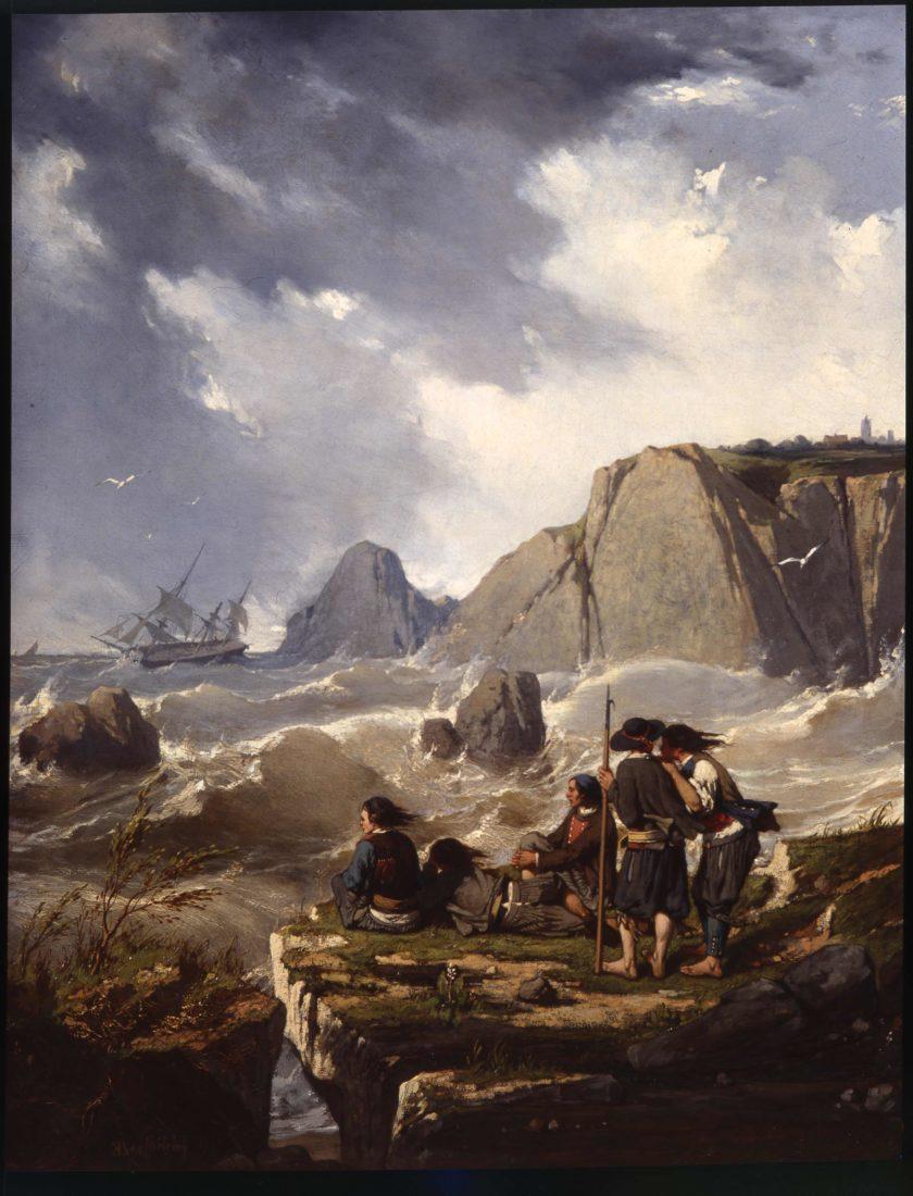 Pierre-Émile Berthélémy (1818-1894), Naufrage sur la côte bretonne
