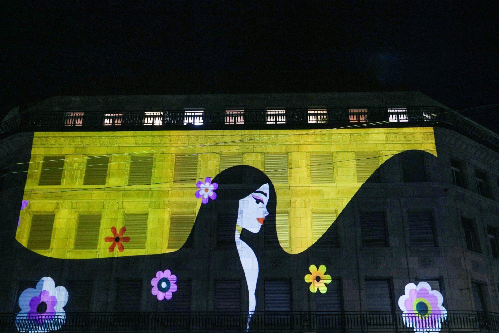 Festival Lausanne Lumières 2020 femme Arc-en-ciel jaune