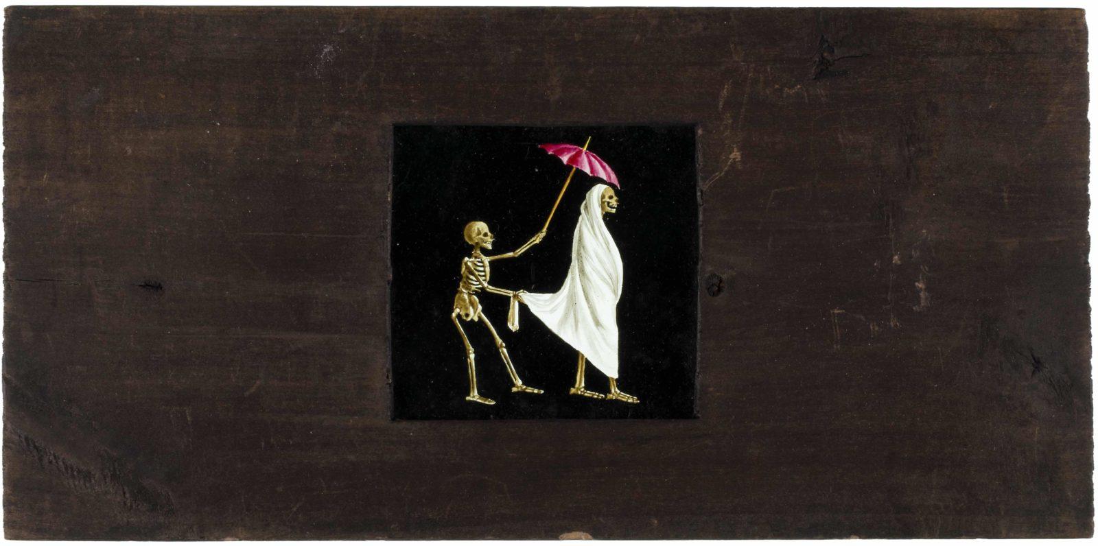 La mort à l'ombrelle, plaque de fantascope