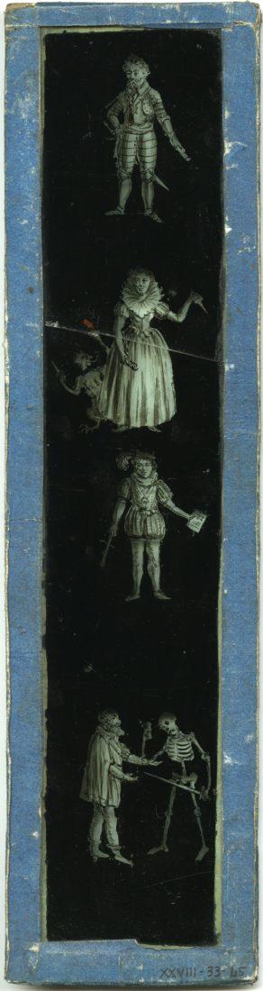 plaque de fantasmagorie verticale, vers 1800
