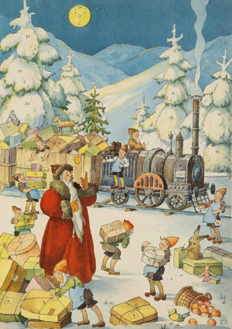Château de Gruyères, calendrier avec père Noël et train