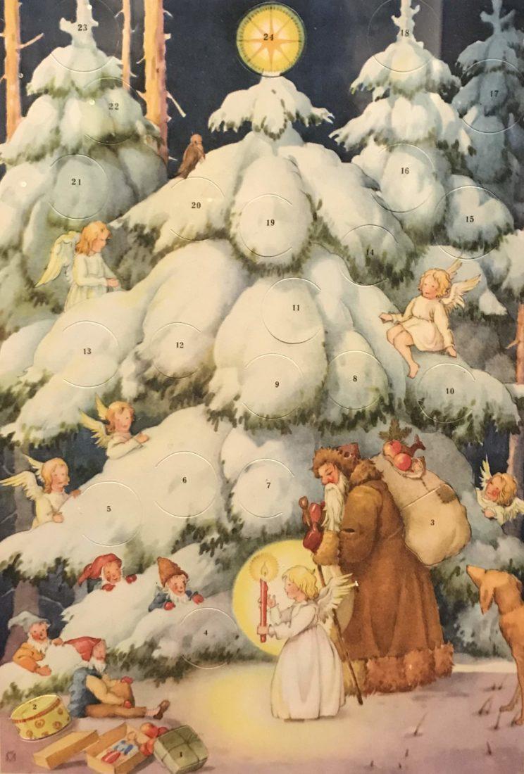 Château de Gruyères, calendrier avec père Noël et anges