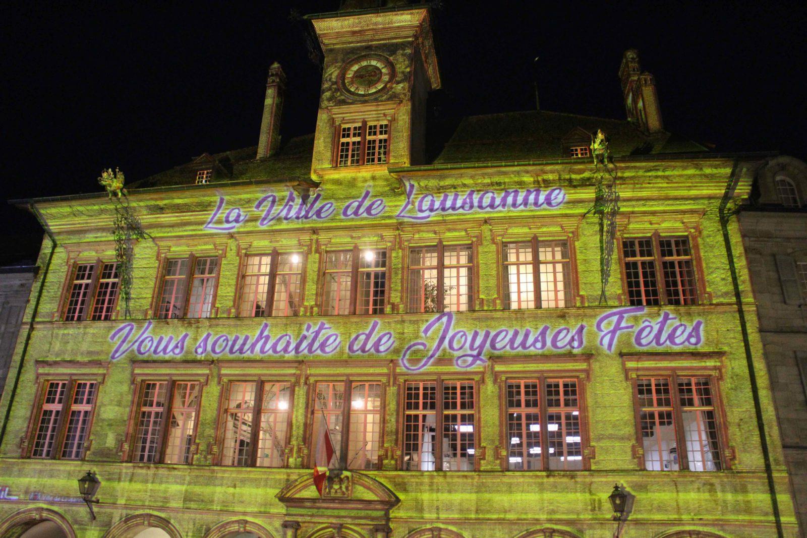 Lausanne Hôtel de ville Illumination en vert