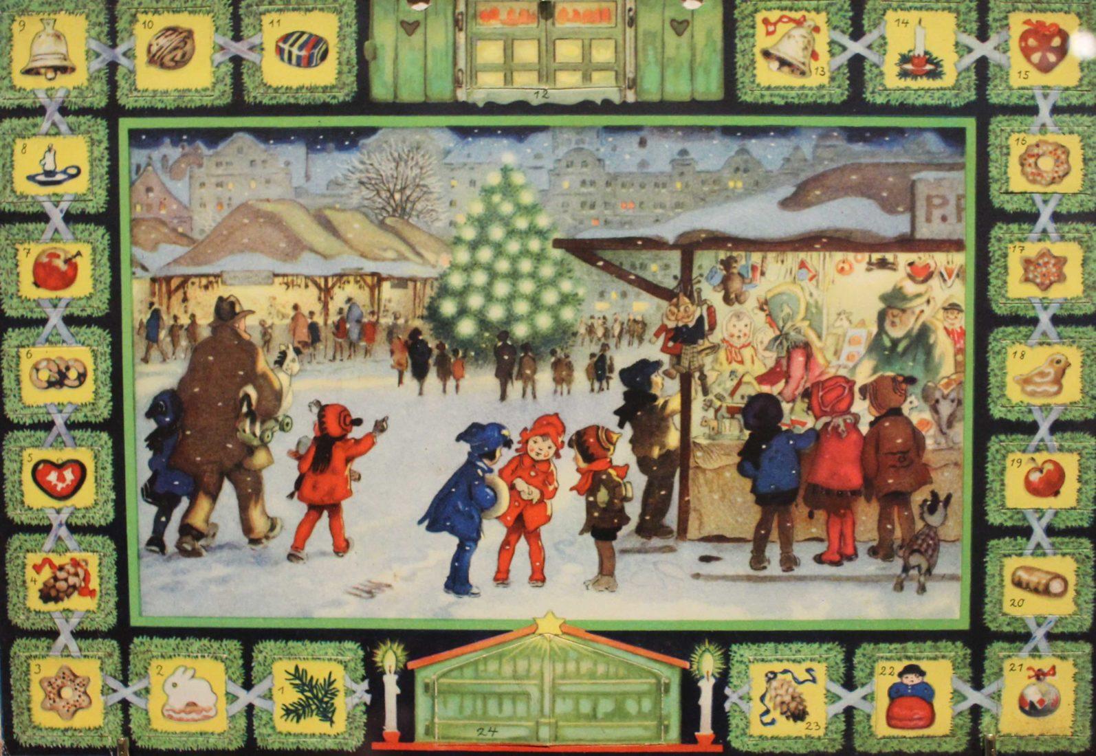 Château de Gruyères, calendrier avec vue marché de Noël
