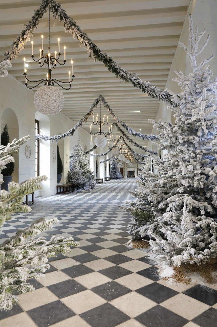 Décor blanc  Château de Chenonceau Noël 2020