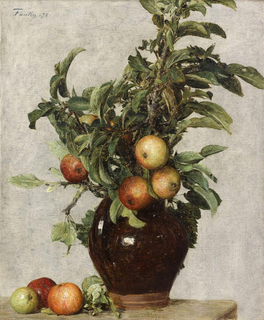Henri Fantin-Latour, Vase aux pommes et feuillage,