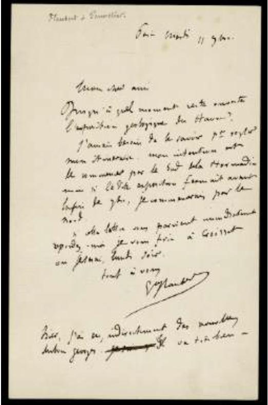 Lettre manuscrite de Gustave Flaubert