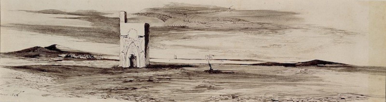 Paysage à la tour carré, dessin de Victor Hugo