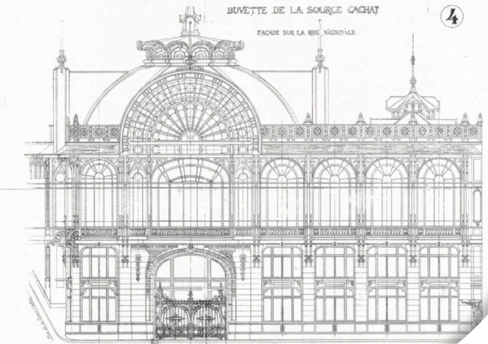 Plan de la Buvette Cachat façade rue Nationale