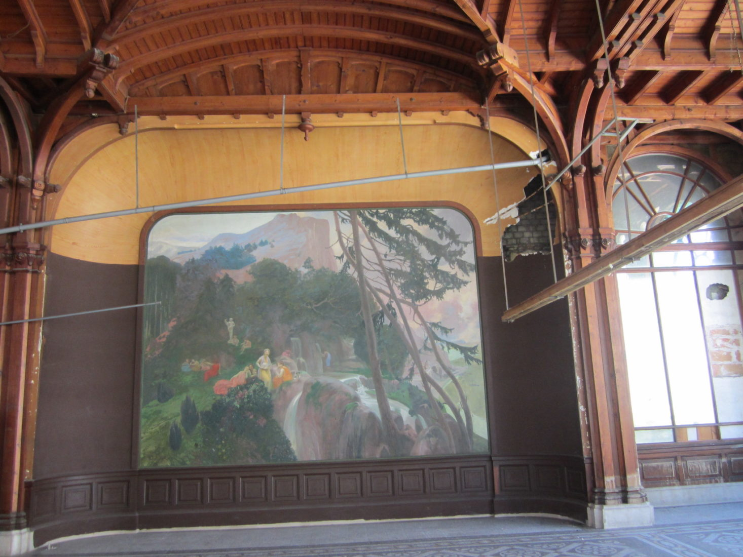 Buvette Cachat, toile Nymphes à la source dans un paysage d'Arcadie Albert Besnard