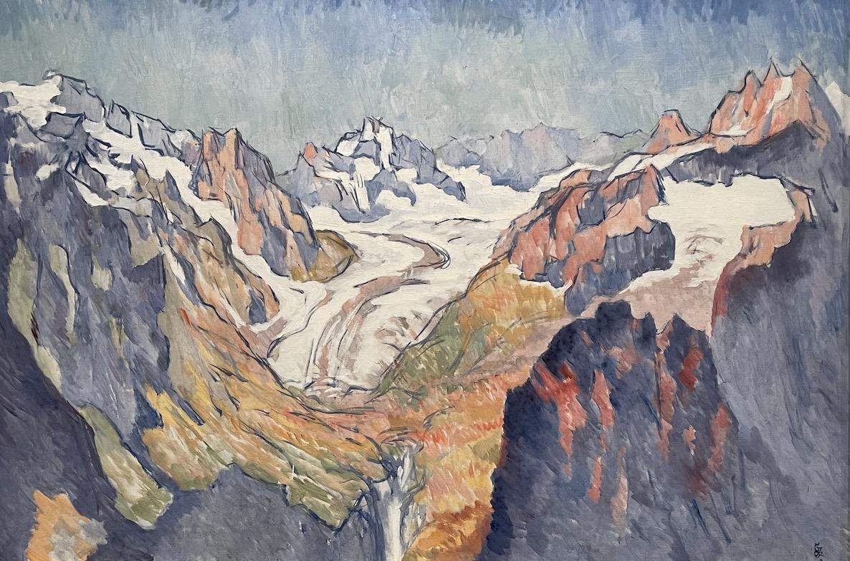Giovanni Giacometti : Vue de la haute vallée de l'Albigna en Bregaglia, depuis l'Alpascella au col de Septimer