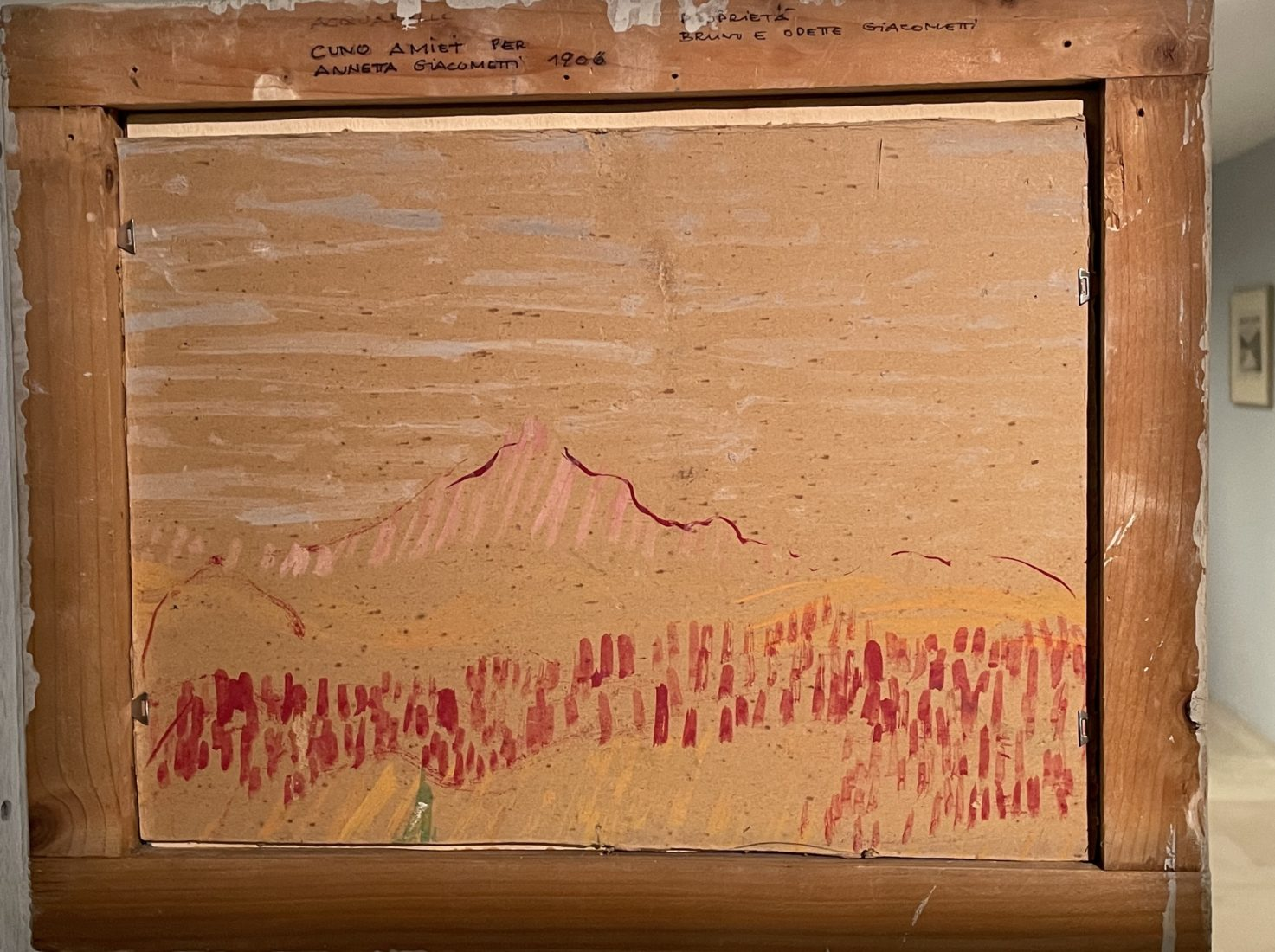 Giovanni Giacometti ou Cunio Amiet. Esquisse au dos du tableau Lac de Sils avec montagne