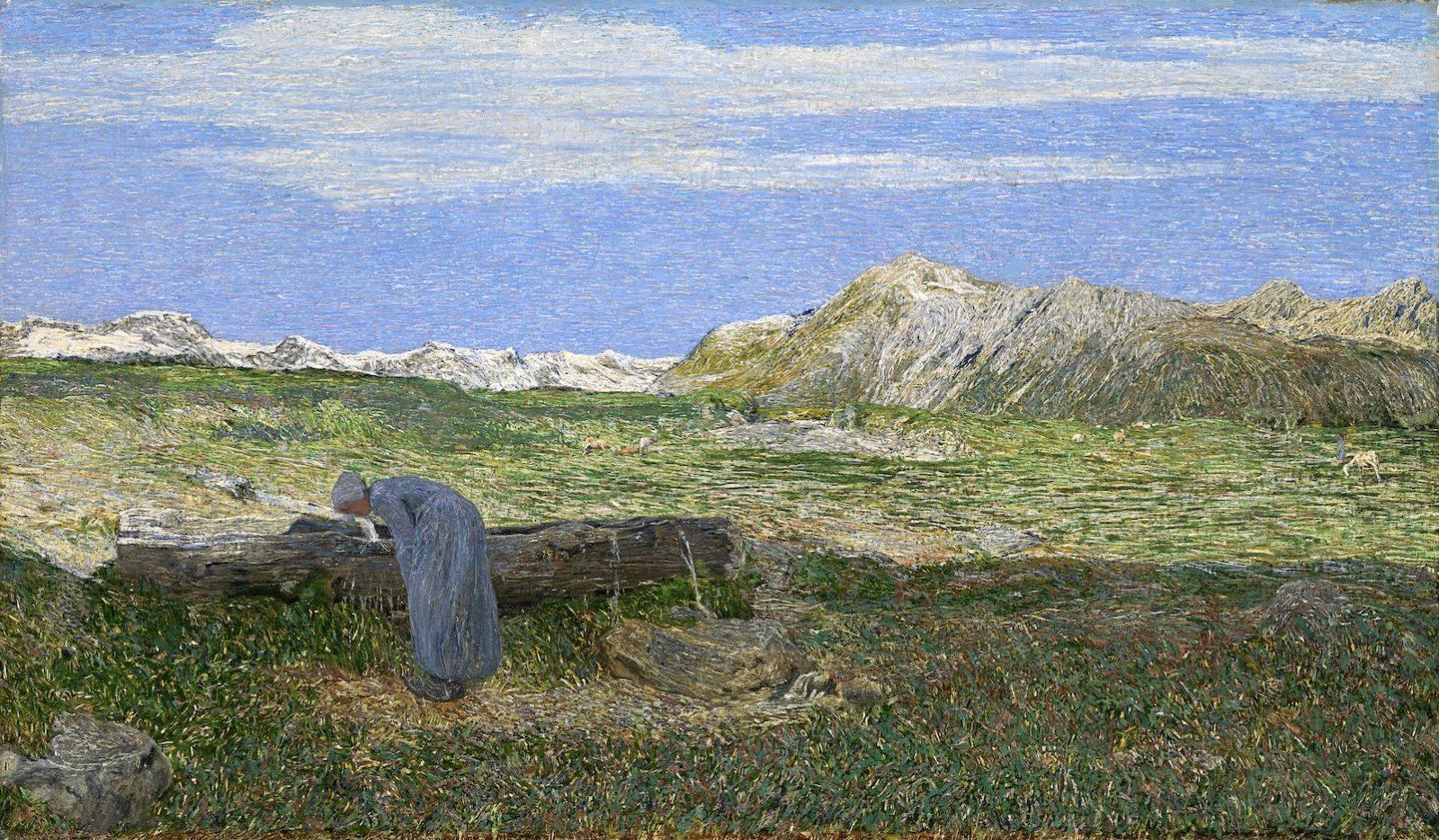 Giovanni Segantini : Paysage alpin avec femme à la fontaine,