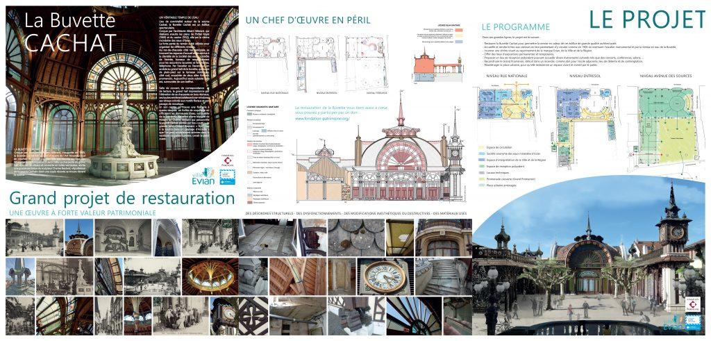 Panneau du projet de restauration de la Buvette Cachat