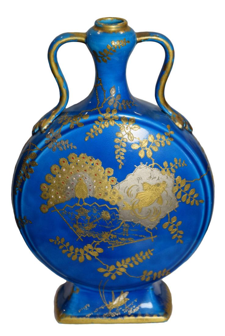 Faïence fine à glaçure turquoise, rehauts d'or et de platine, Longwy