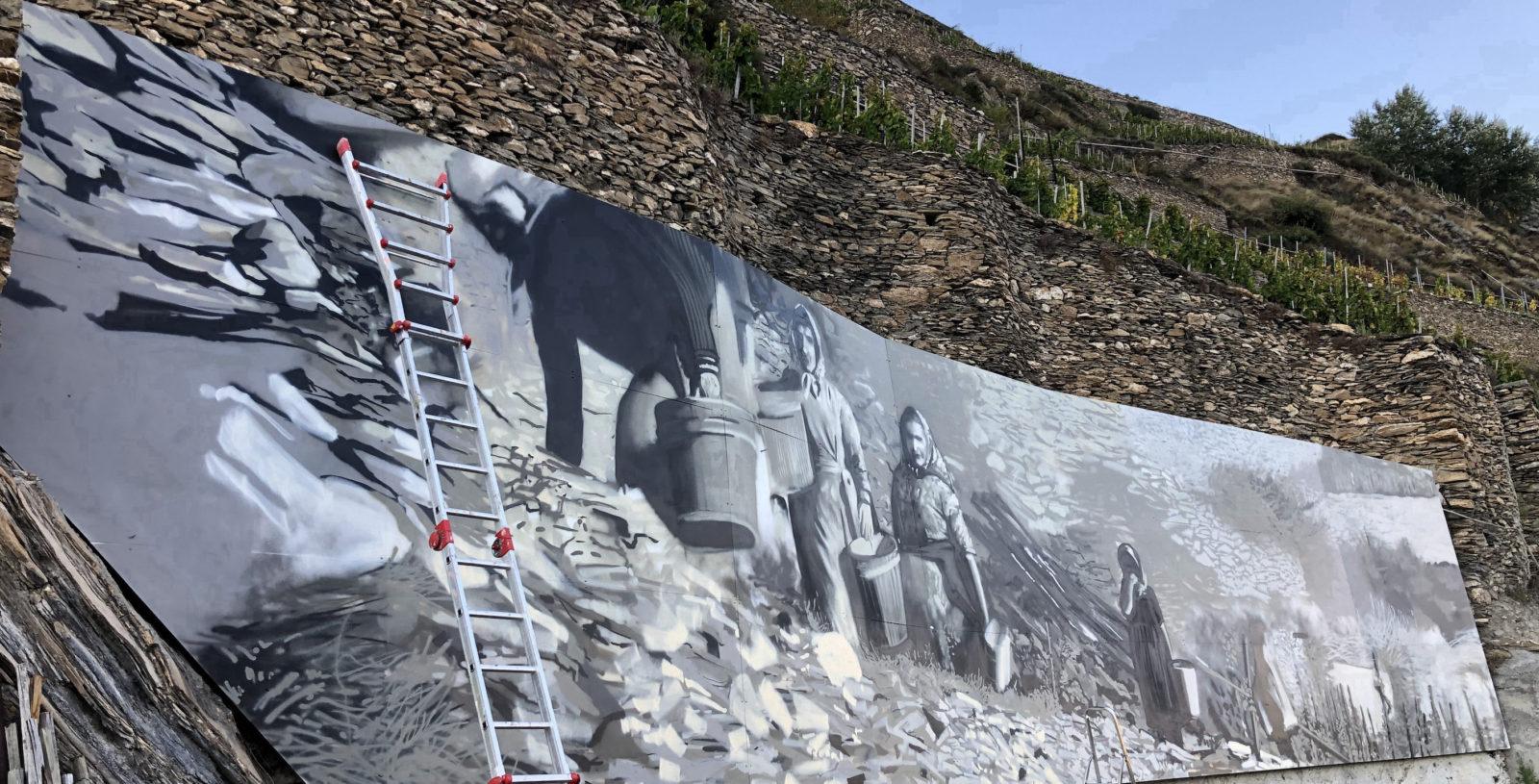 AVW fresque sur le mur de béton Domaine du Mont d'Or Sion