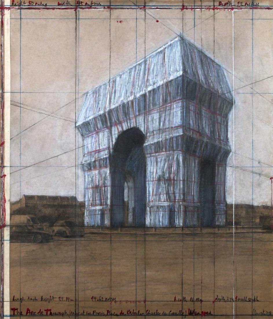 Christo projet l'Arc de Triomphe empaqueté - Dessin