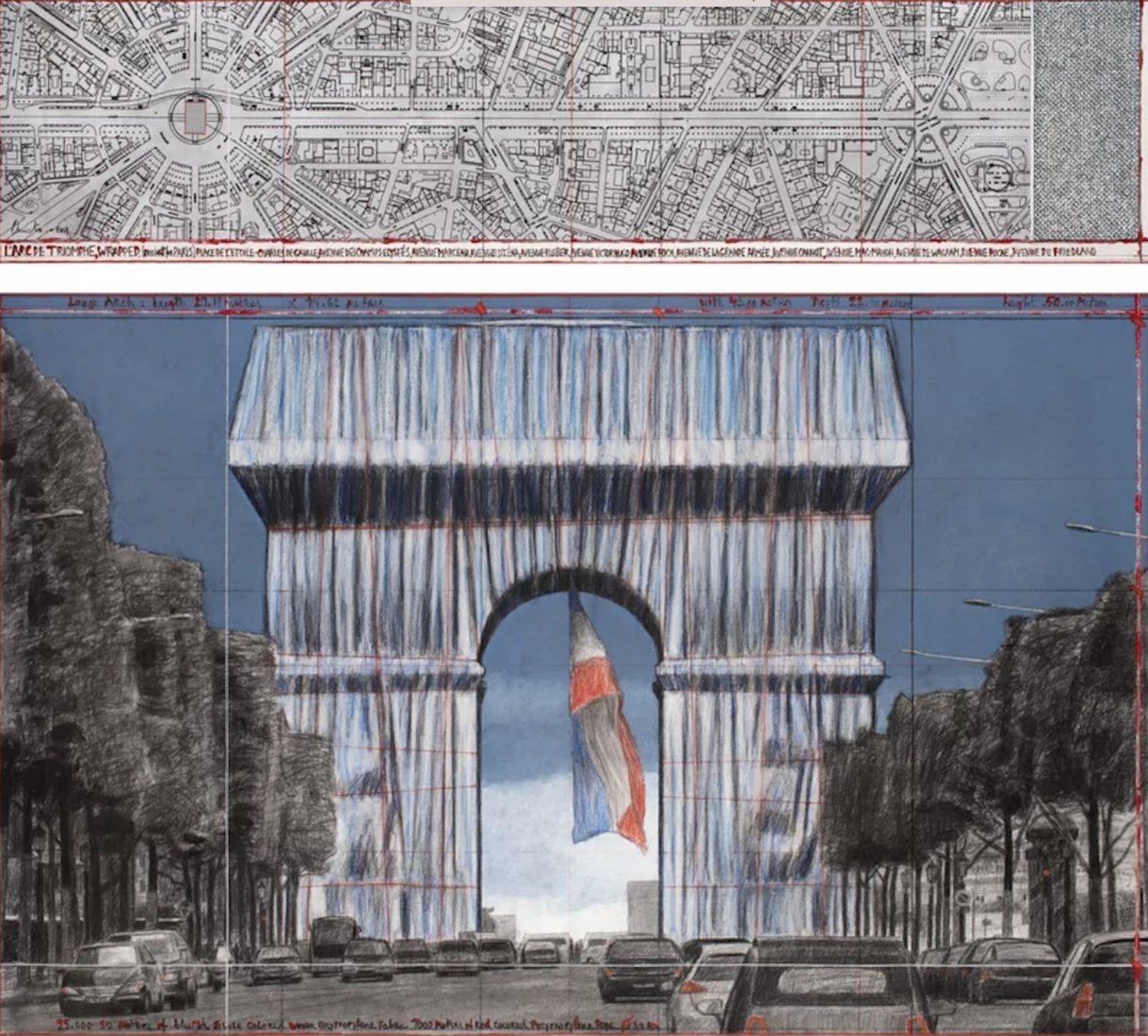 Christo projet l'Arc de Triomphe empaqueté - Dessin en 2 parties