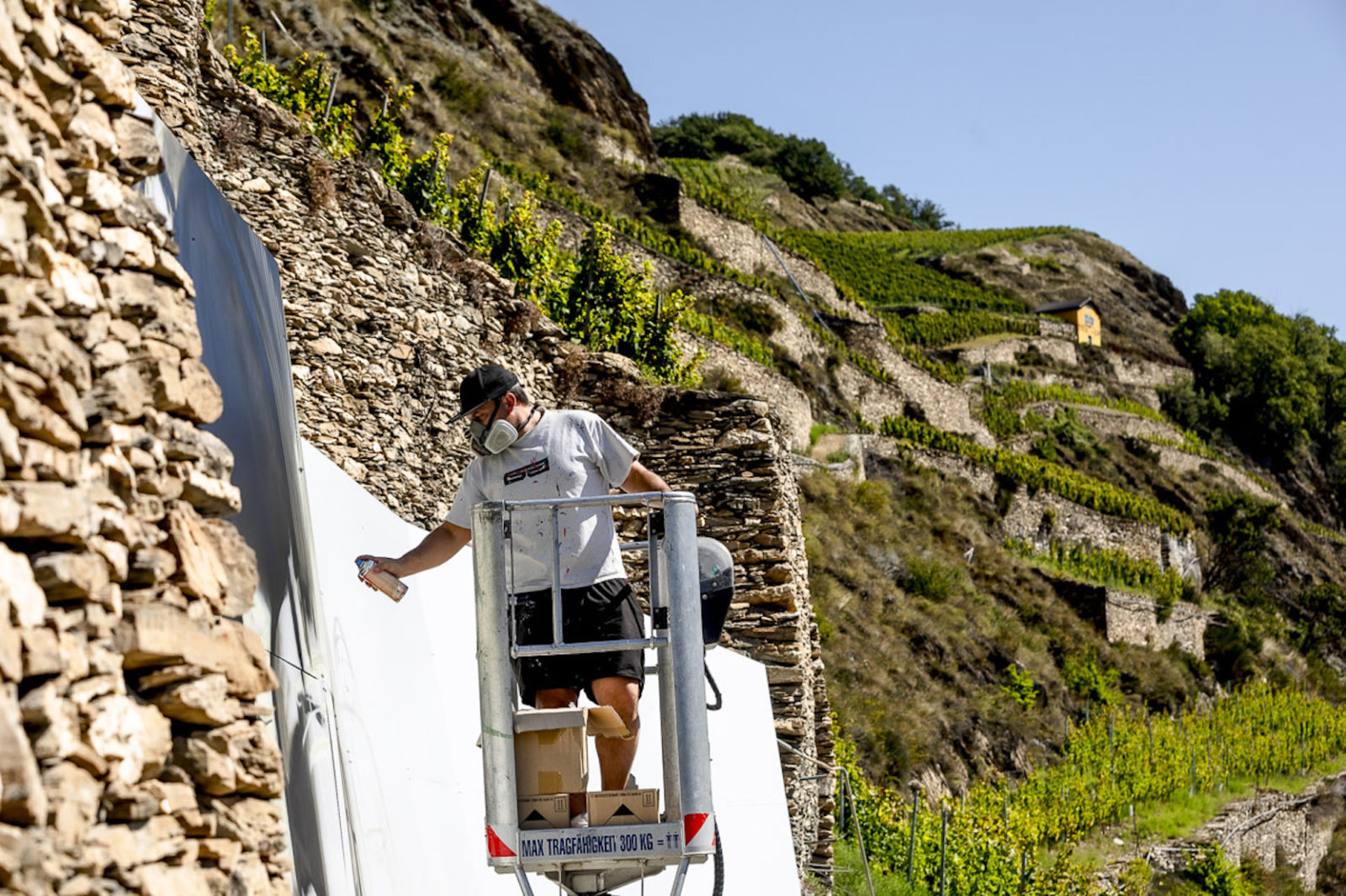 AVW Artiste travaillant sur un mur Domaine du Mont d'Or Sion