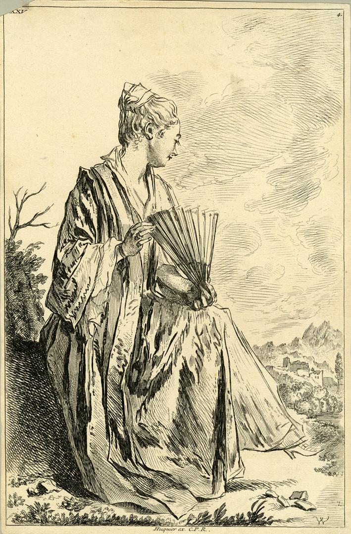 Femme assise jouant de l'éventail, le profil tourné à droite,